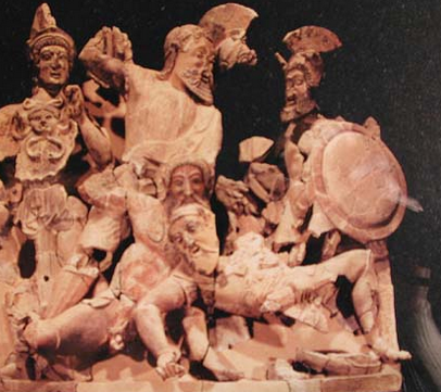 Death of Tydeus from Etruscan temple pediment Pyrgi, Italy
