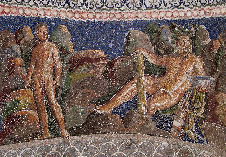 Mosaic depicting Iolaus and Herakles