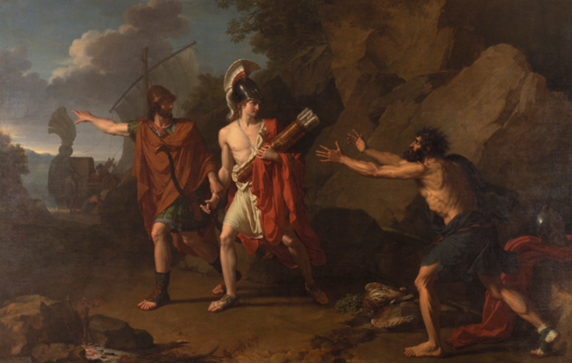 Neoptolemus and Odysseus take the bow of Herakles from Philoctetes