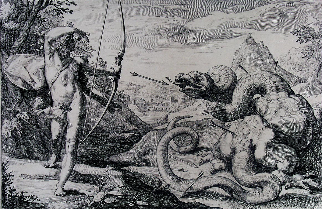 Apollo slays the Python on Mt. Parnassus