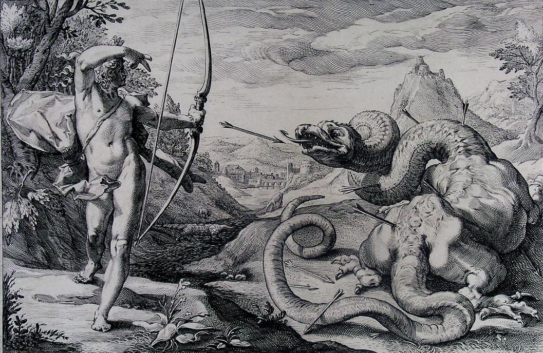 Apollo slays the Python on Mt. Parnassus
