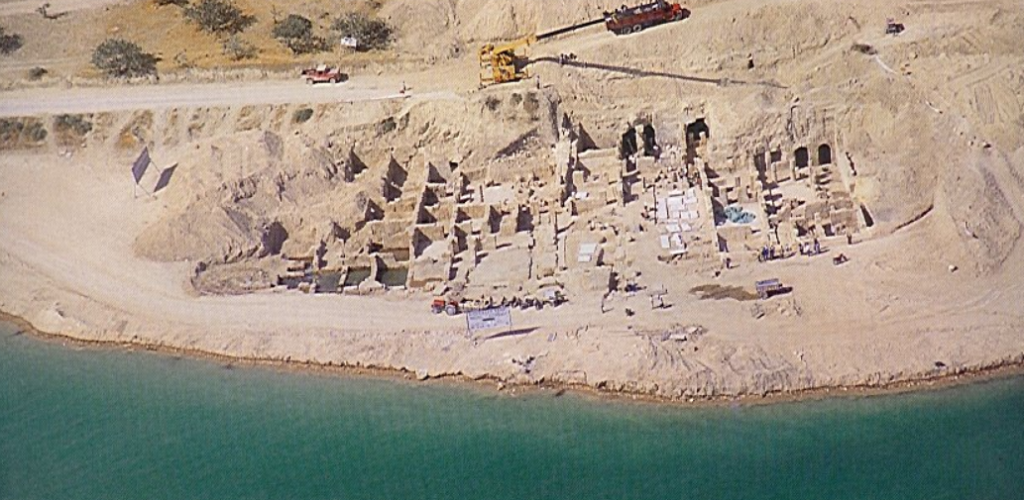 Rising waters around excavation site