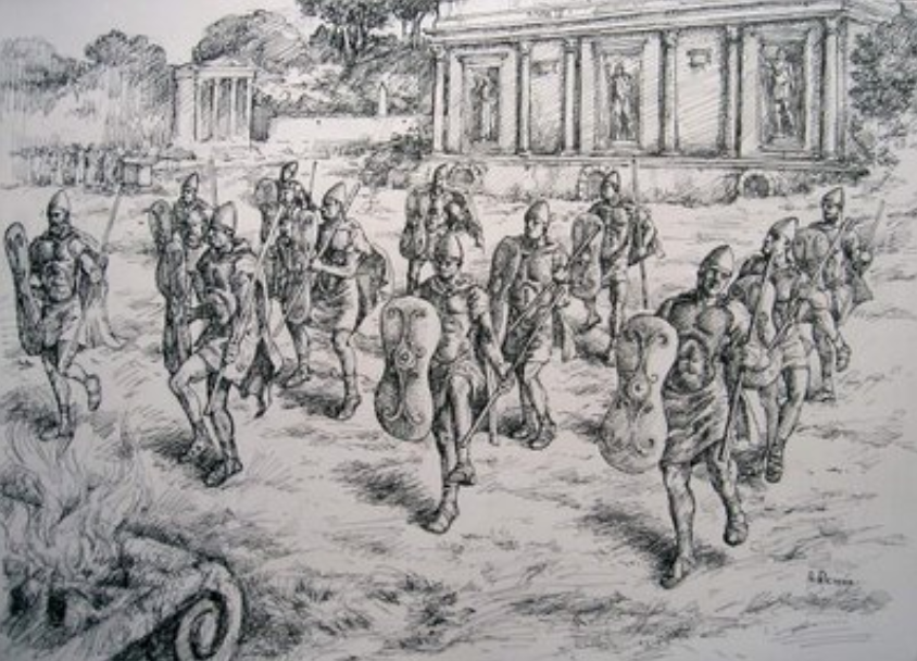 Artist impression of the Salii performing the ritual dance to honour Mars