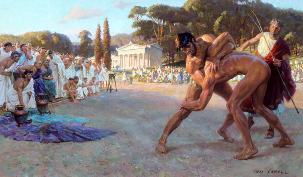 Artist re-creation of ancient wrestling