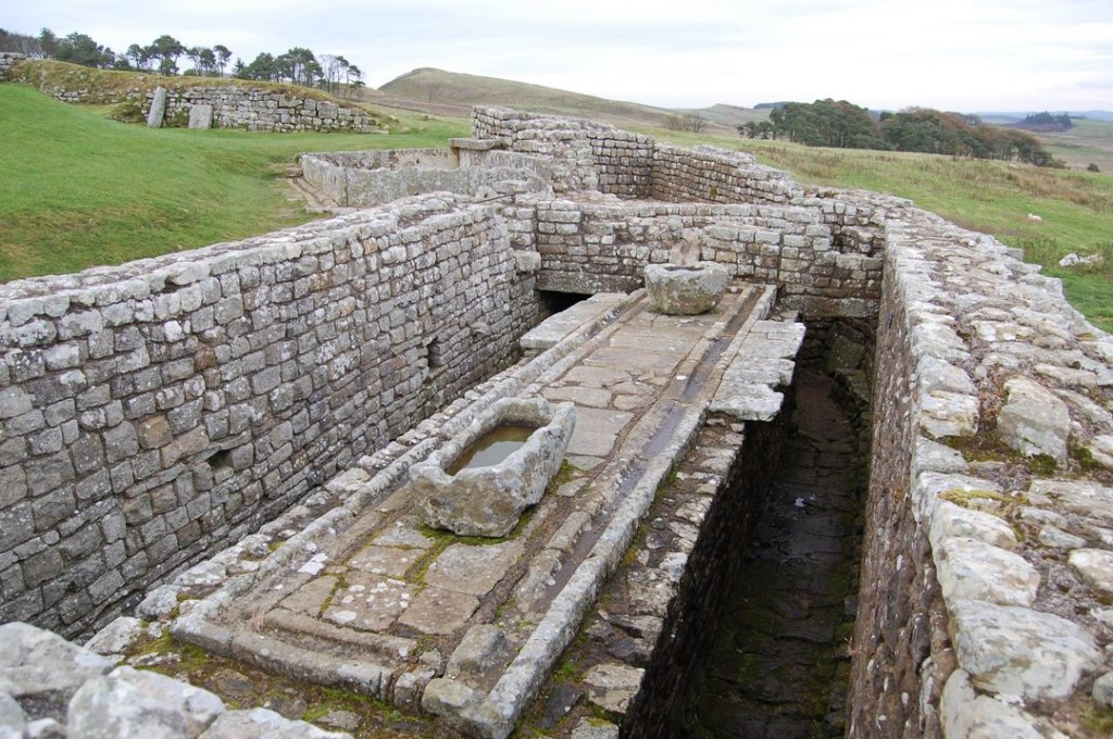 Remains of the latrine at Housesteads on Hadrian's Wall