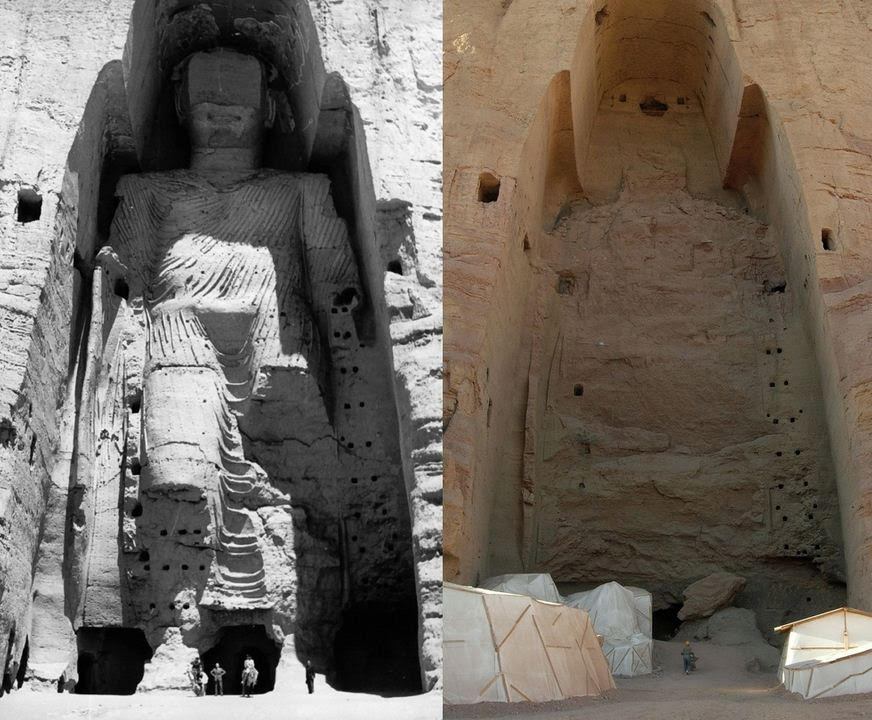 The Bamiyan Buddhas -destroyed by the Taliban