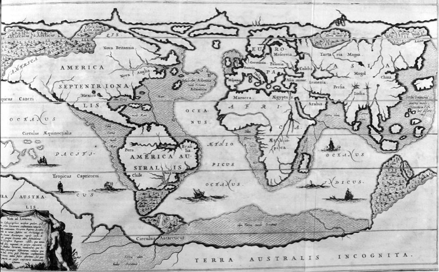 Kircher's 1675 map of the world after the Great Flood. The location of Atlantis is marked in the Atlantic Ocean. (Print Collector/Getty Images)