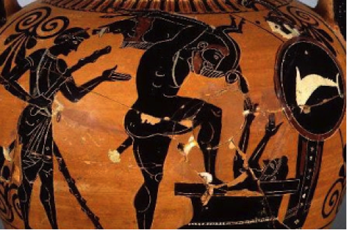 Herakles presents Eurystheus with the Erymanthian Boar