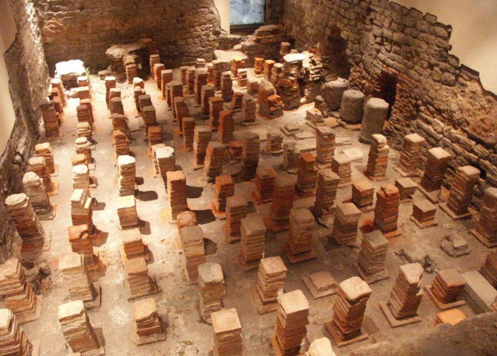 Hypocausts beneath the  floor of the caldarium at Bath, England