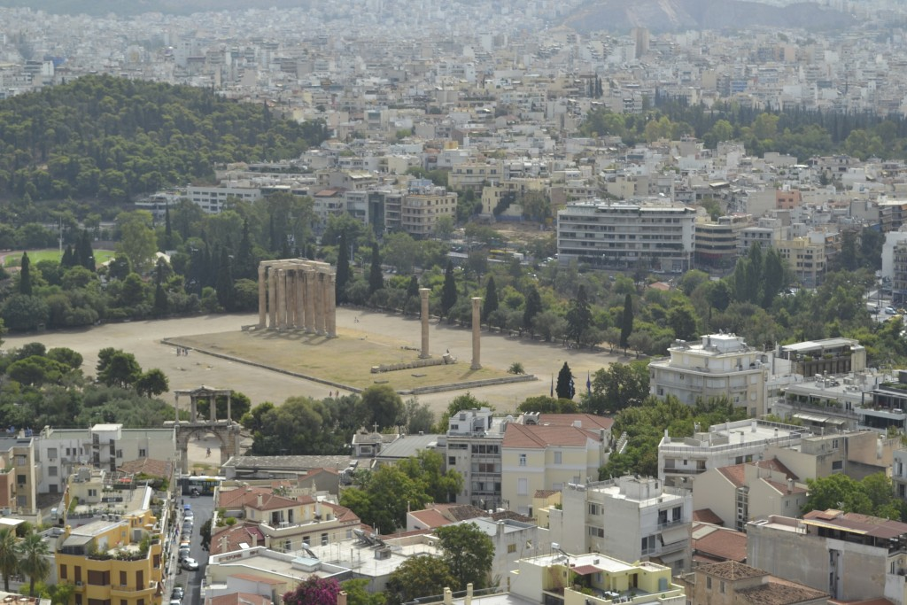 The Temple of Olympian Zeus in Athens, as seen from the Acropolis
