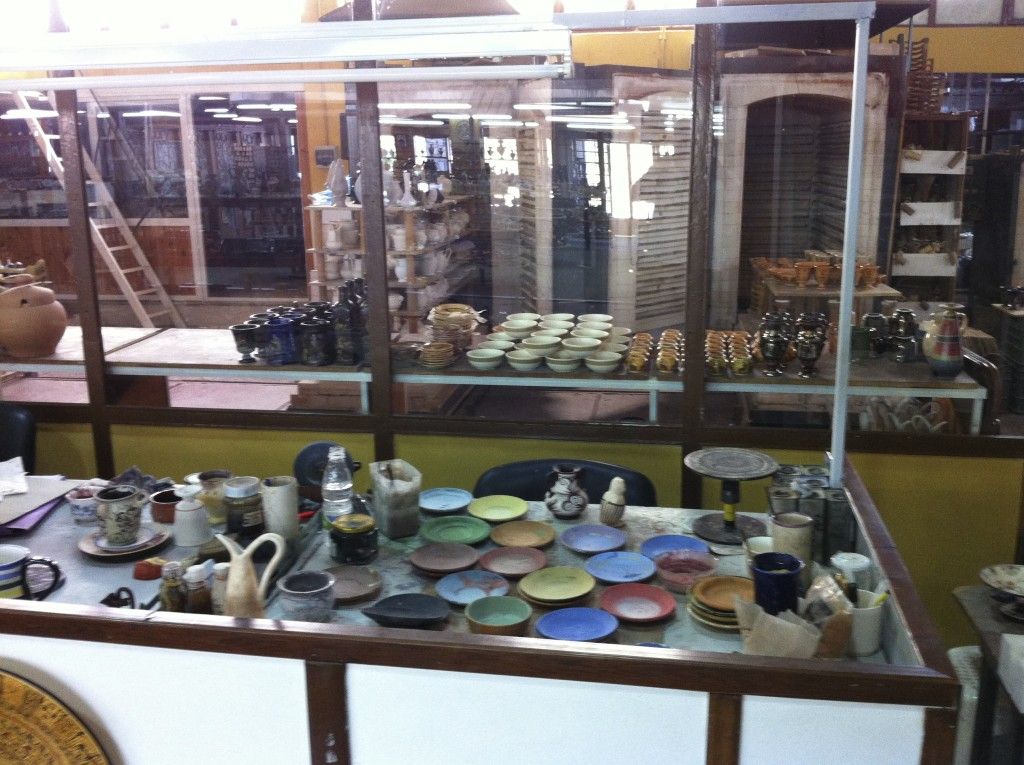 Where the ceramics are painted.