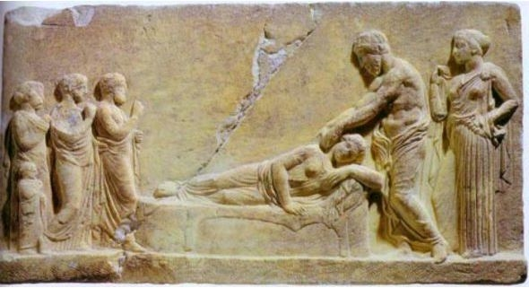 Relief of Asklepios healing a dreamer