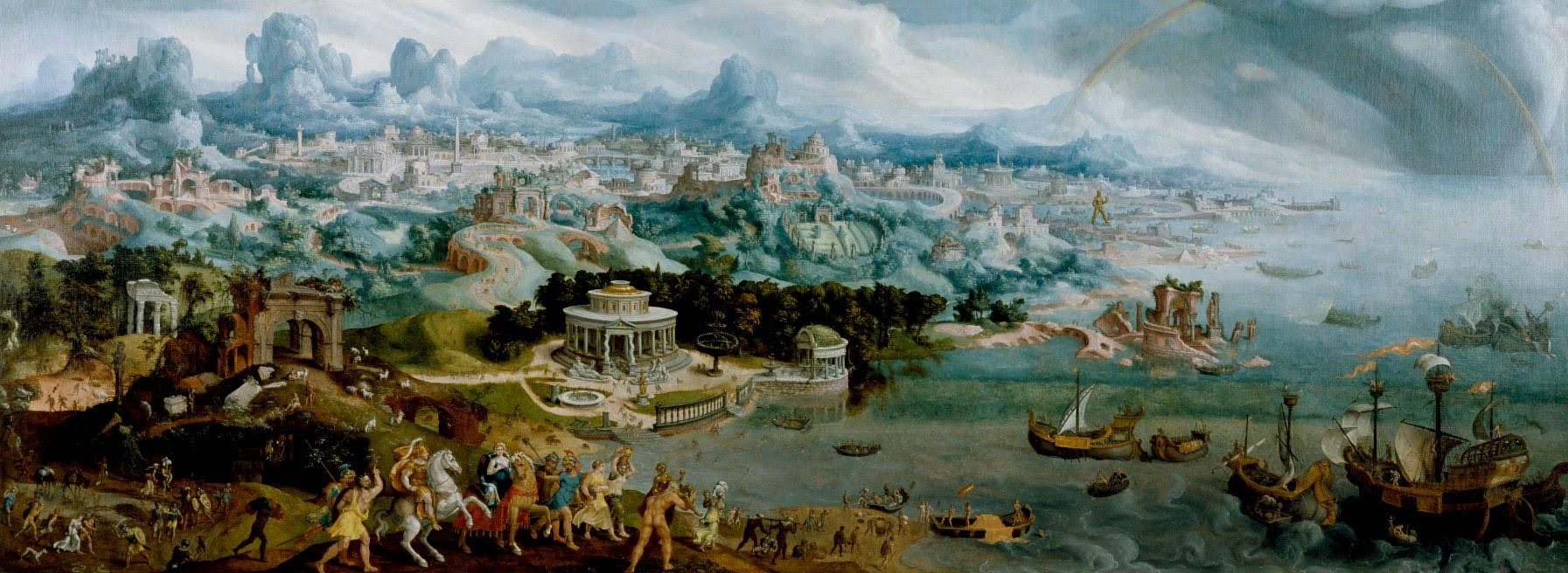 Seven Wonders as background for Maerten van Heemskerck's Abduction of Helen by Paris