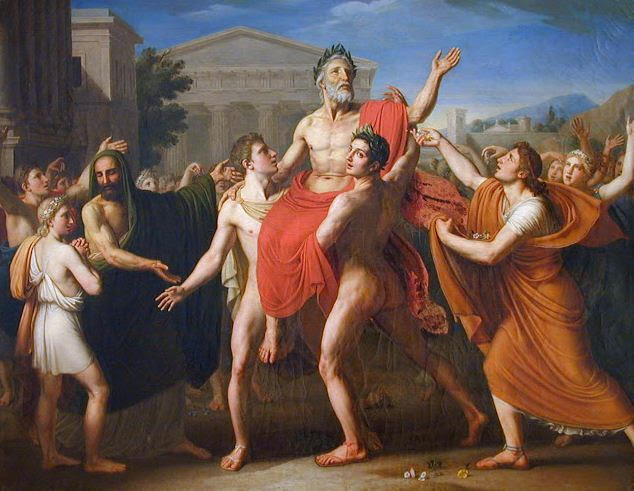 The Diagorids of Rhodes were boxing royalty in Ancient Greece ... as Degeorge, Diagoras porté en triomphe par ses fils, 1814