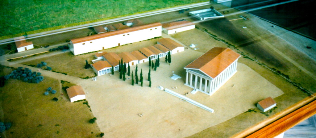 Model of the site, in the museum, showing the long altar in front of the temple of Zeus