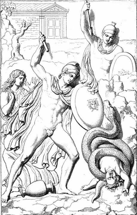 Opheltes being killed by the snake