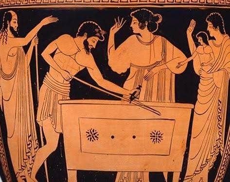 Acrisius putting Danae and the baby Perseus into the box before throwing them into the sea