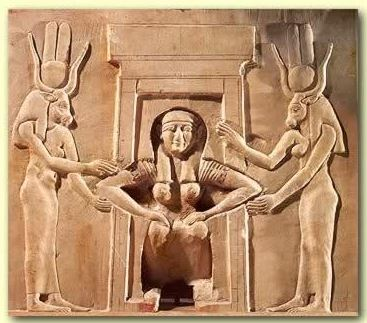 Egyptian birth - temple relief at the Ancient Egyptian Dendera Complex depicts a woman giving birth while squatting and attended by the two goddesses