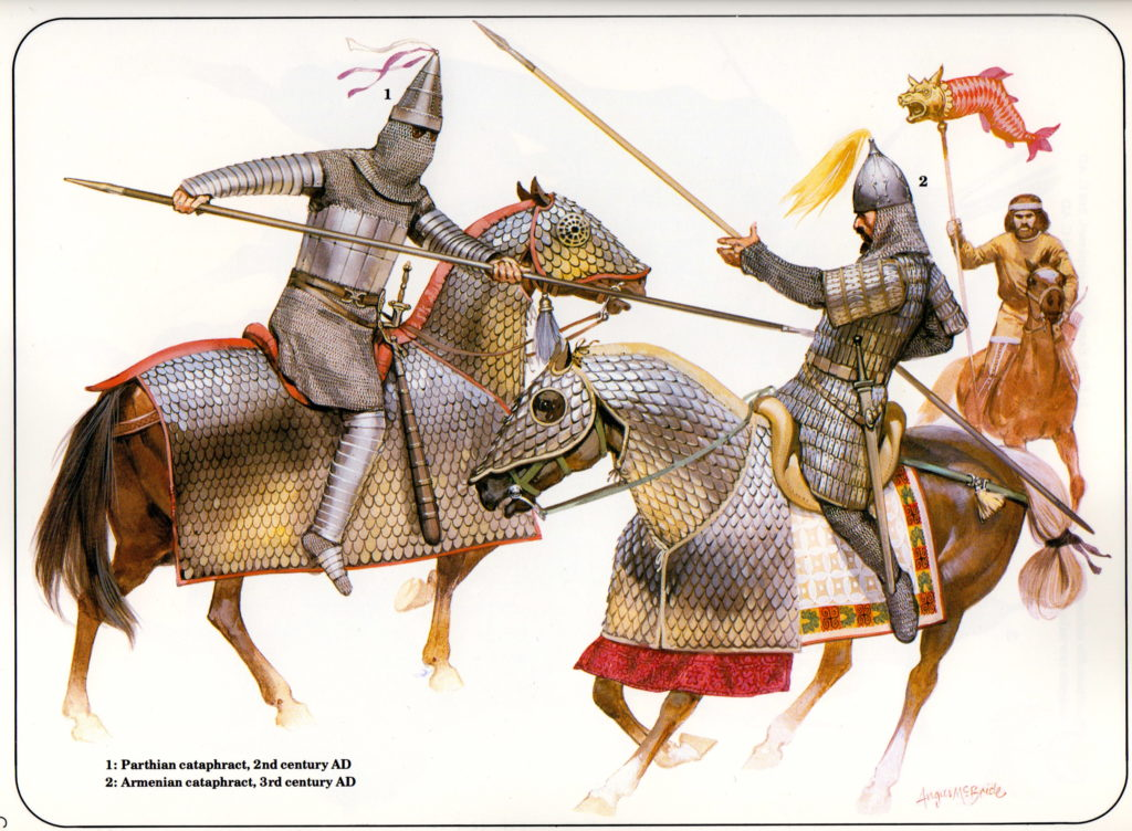 Parthian cataphract wielding the kontos (illustrated by Angus McBride)