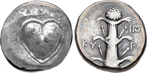 Ancient Coin with image of Silphium plant on one side, and heart-shaped Silphium seed on the other