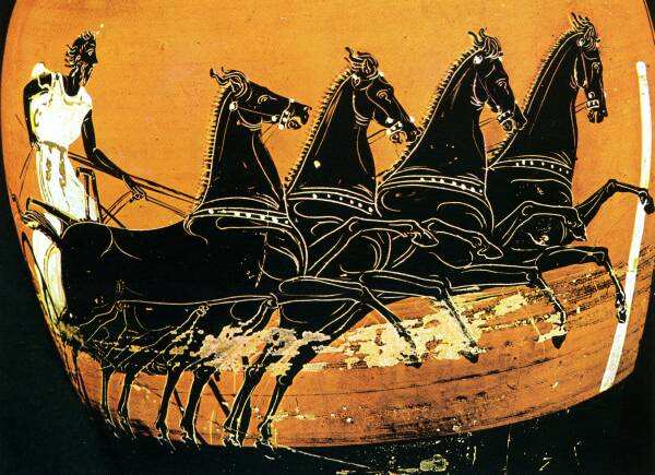 Chariot racing in the ancient Olympics - the one sport in which women could participate as owners and trainers of horses
