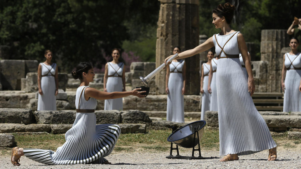 The 2016 torch-lighting ceremony at ancient Olympia