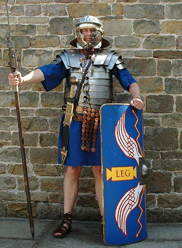 Re-enactor in Roman Legionary outfit