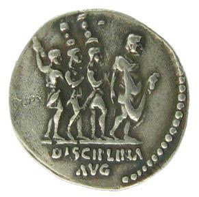 Roman coin showing stardard bearers and the world 'Disciplina' - second century A.D.