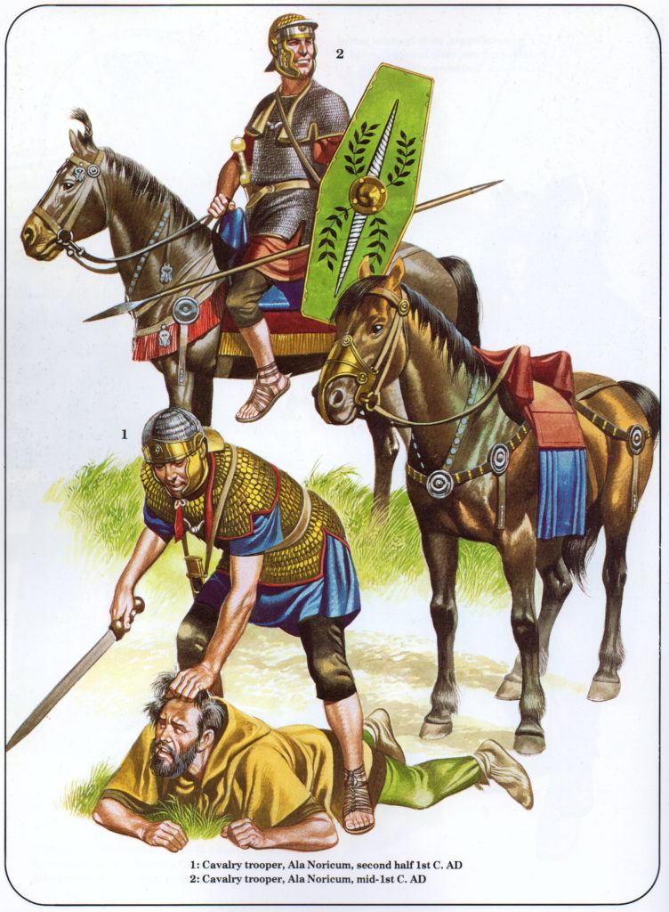 Auxiliary Cavalry troops (illustration by Ron Embleton)