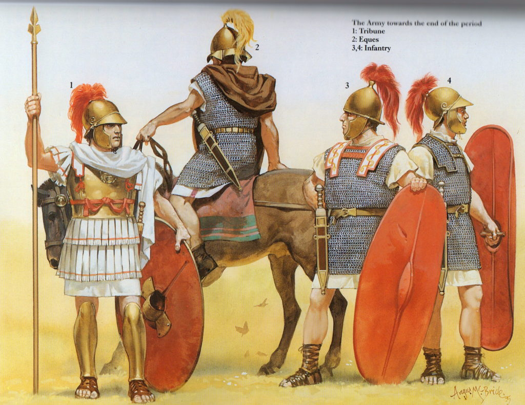 Republican Roman troops (illustration by Angus McBride)