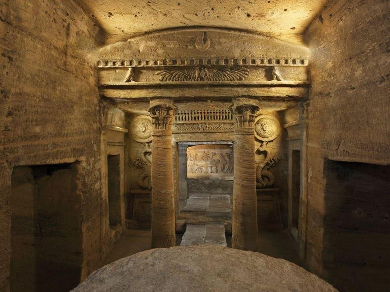Alexandrian catacombs with mixture of Egyptian, Hellenistic and Roman styles