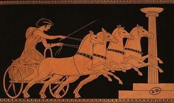 Artist impression of Kyniska driving chariot