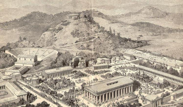 Artist impression of ancient Olympia - many of the buildings in this picture were not there in 396 B.C.