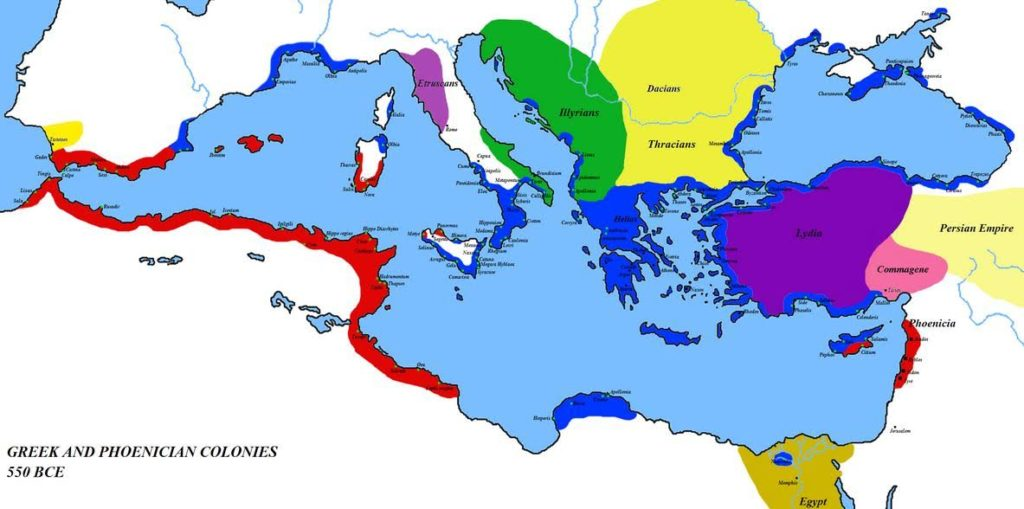 Greek Colonies of Mediterranean (in blue)