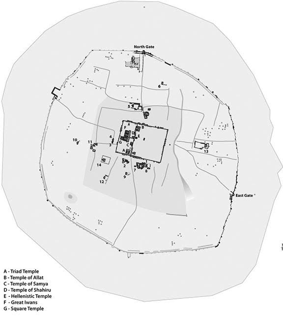 Hatra Map (with temples labelled)