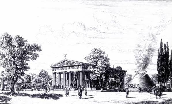 Illustration showing temple and great altar of Zeus