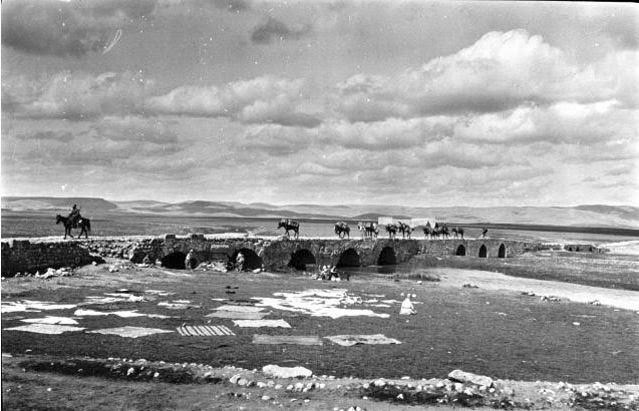 Nisibin Bridge - Gertrude Bell's caravan crossing bridge.