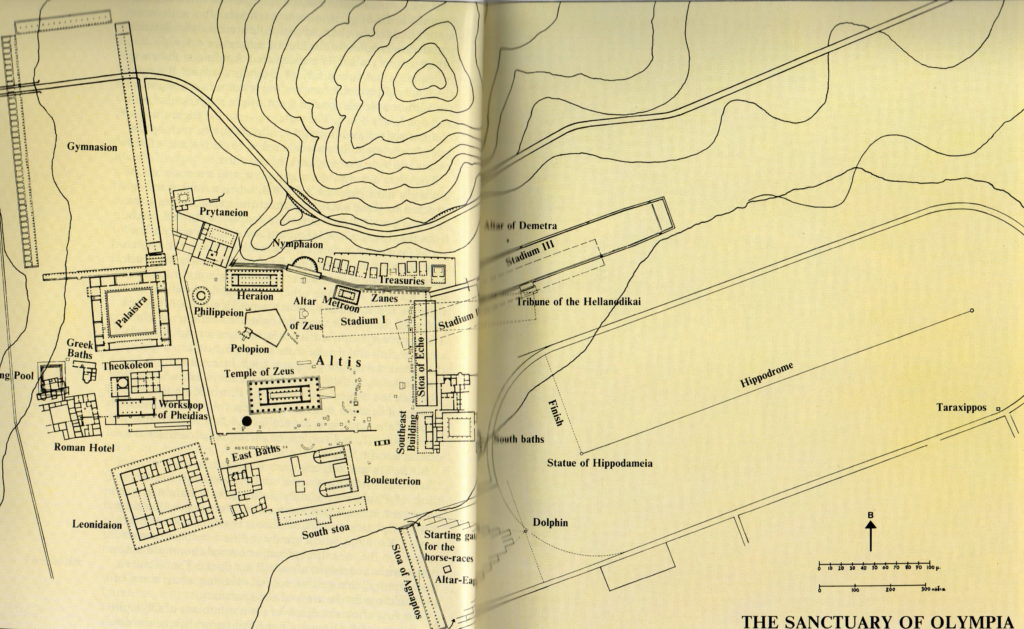 Olympia map showing hippodrome