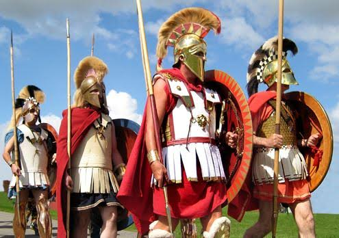 Re-enactors dressed as hoplites