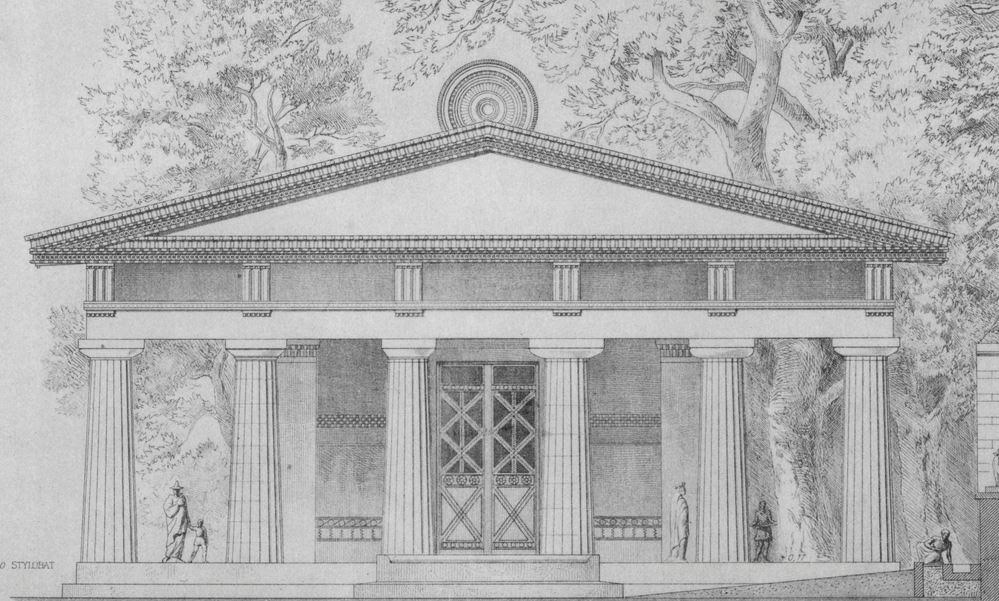 Temple of Hera artist impression showing the acroterion at the top, shaped like peacock feathers, a symbol of Hera
