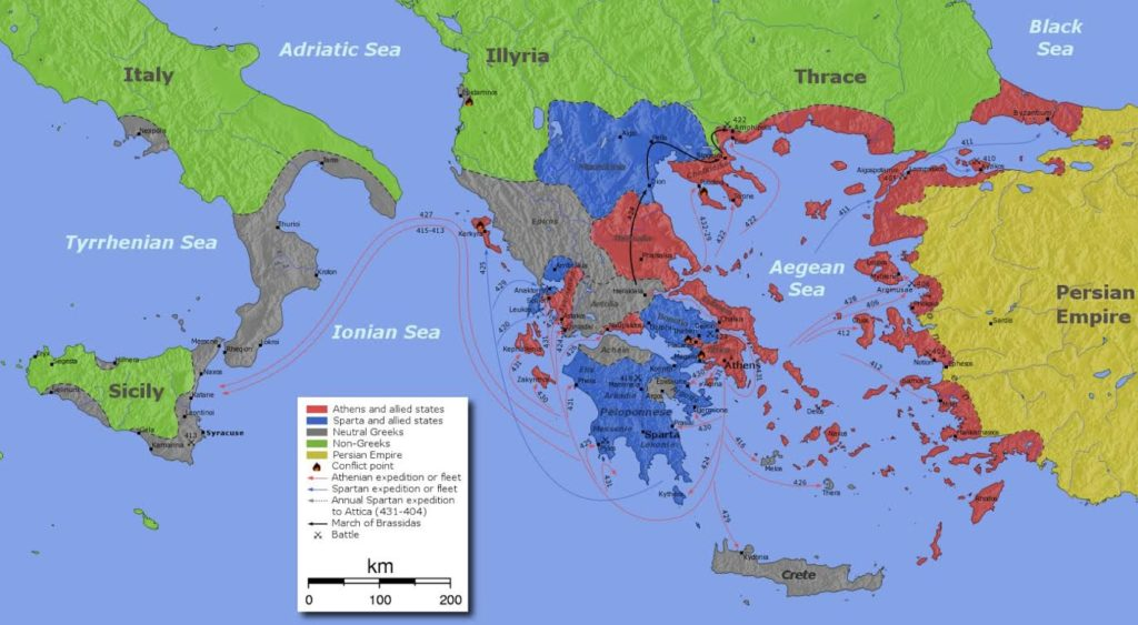 Map of movements during the Peloponnesian War