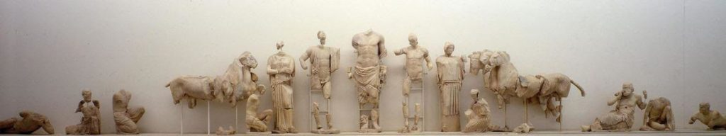 East pediment of the temple of Zeus at Olympia showing Zeus between Oinomaus and Pelops, just before their race