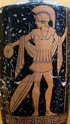 A Greek warrior pouring a libation to the Gods