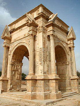 The four-sided arch of Severus at Leptis Magna