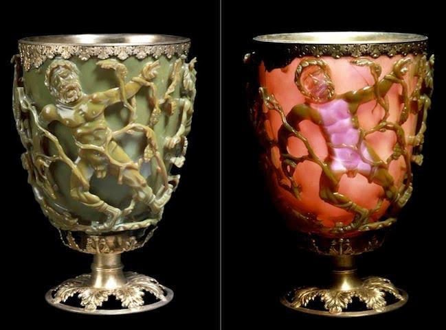 Split image of the Lycurgus Cup lit from the front (left) and from the back (right)