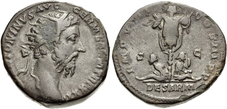 Coin of Marcus Aurelius showing Sarmatian captives