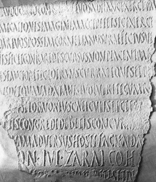 Part of the inscription from Lambaesis documenting Hadrian's address to the troops when he visited there.