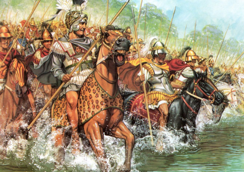 Alexander riding into battle at the head of his troops