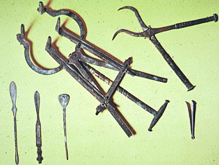 Ancient surgical instruments, including forceps